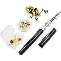 Lixada Fishing Rod Reel Comb Set,1M Portable Aluminum Pocket Fishing Rod Telescopic Pen Fishing Rod Pole,Fishing Reel,Fishing Line,Fishing Tackle Box