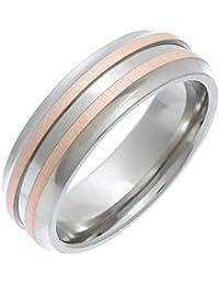 Theia Ring Flach geprägter 7 mm Titan und Rose Gold Inlay 9ct Gr. 50 (15.9)