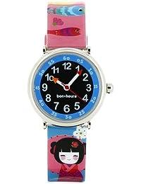 Baby Watch - Coffret Doll - Montre Fille - Montre Pédagogique 4-7 ans - Cadran Bleu - Bracelet Plastique Multicolore