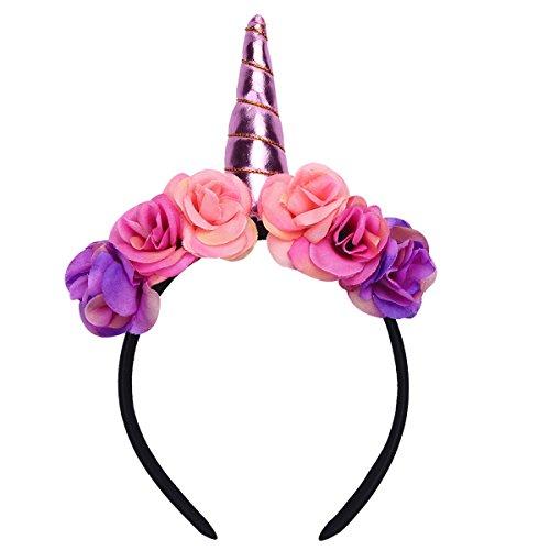 Tiaobug Haarreif Einhorn Kostüm Einhörner Blumen Haarreif Kopfschmuck für Baby Kinder Party Karneval Zubehör Rosa One Size