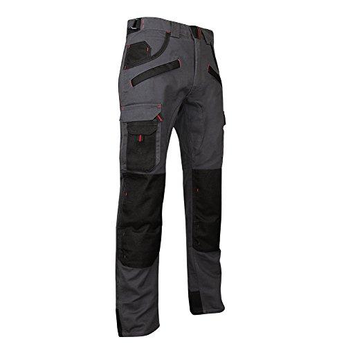LMA 1261 ARGILE Pantalon avec Poches Genouillères, Gris Nuit/Noir, Taille 50