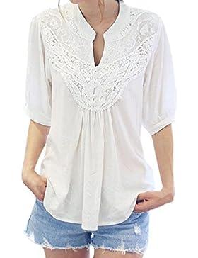 OverDose camisetas blusas manga larga para mujer gasa suelta media manga V-cuello tapas