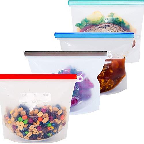 4 Pack bolsa conservación alimentos cremallera galón