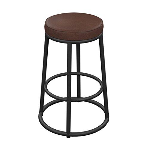 Crazy stool ZWD Iron Art Barhocker, Vintage PU Hocker Barhocker Einfache High Hocker Barhocker Front Desk Chair Dekoration Runde Hocker Höhe 65-85cm Hocker und Stühle (größe : 35*35*85cm) (Begrüssen Service)