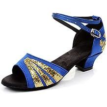 Silencio @ Kids 'zapatos de baile Latina/Salsa/Flamenco/Samba satinado/sintético tacón bajo negro/azul/rojo/Multicolor, rojo, US10 / EU27 / UK9 Toddle