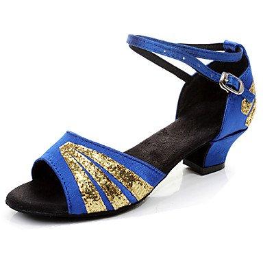 Ruhe @ Kids 'Dance Schuhe latin/Salsa/Flamenco/Samba Satin/Synthetik Low Ferse schwarz/blau/rot/mehrfarbig Gold