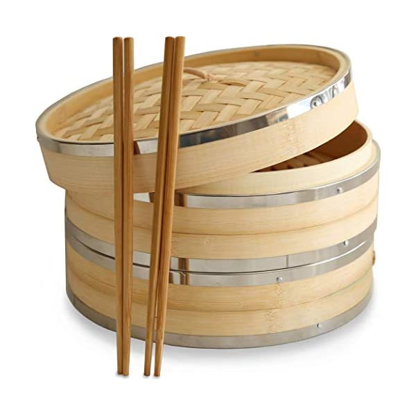 10 Inch (25.4cm) Premium Organic Bamboo Steamer by Harcas. Large 2-Tiers with Lid. Strong, Durable and Reinforced. Best for Dim Sum, Vegetables, Meat and Fish. Hand Made. Chopsticks Included 41O9dHyVB9L