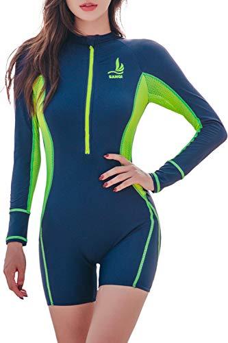 Hungo Damen Badeanzug mit Bein und Arm Einteiler Bademode mit UV Schutz Langarm Schwimmanzug Swimsuit mit Shorts