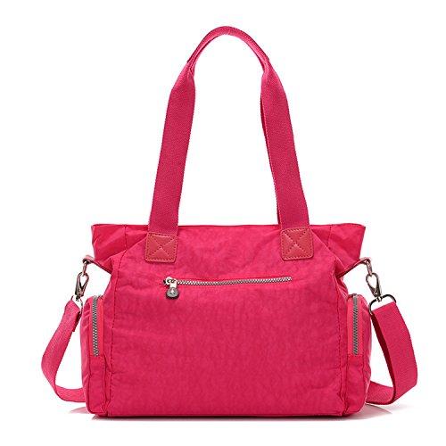 Outreo Umhängetasche Mädchen Schultertasche Designer Taschen Damen Kuriertasche Wasserdichte Sporttasche Reisetasche Handtasche Messenger Bag für Strandtasche Nylon Rot