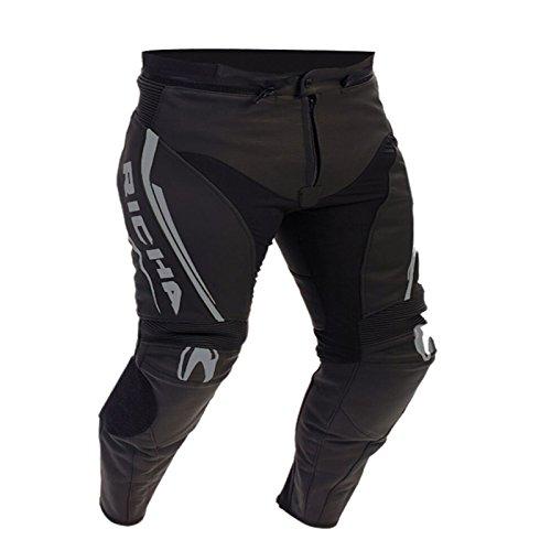 Richa Monza CE in pelle moto jeans/pantaloni-nero/grigio