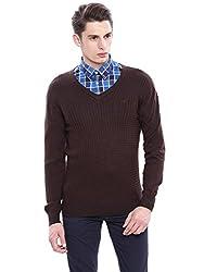Arrow Sports Mens Wool Sweater (SW AS B FS REG STR BRW A12ASBASW026C3_XL_Dk. Brown)