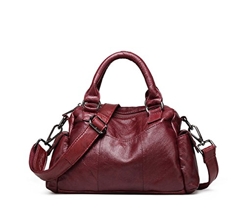 Damenmode Out Red Handtasche Shopping Casual Solide Tote Damen Leder Handtasche xC6w0qIIS