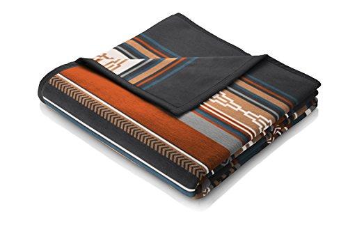 Biederlack Wohn- und Kuscheldecke, 60 % Baumwolle, Veloursband-Einfassung, 150 x 200 cm, Blau/Braun, Orion Cotton Adventure, 646286 -