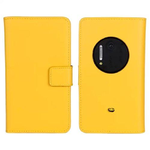 MOONCASE Custodia in pelle Protettiva Portafoglio Flip Case Cover per Nokia Lumia 1020 Giallo