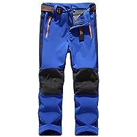 Jessie Kidden Kids' Outdoor Hiking Soft Shell Windproof Pants, Warm Climbing Trousers for Boys Girls#16010-Dark Blue,US L(Tag XL)