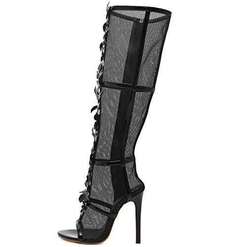 Oasap Women's Peep Toe Stiletto Knee High Mesh Gladiator Sandals Black
