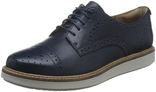 Clarks Glick Shine, Scarpe Stringate Basse Oxford Donna, Blu (Navy Leather), 38 EU