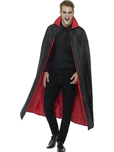 Smiffys, Unisex Wendbarer Vampir Umhang, 127cm Länge, Schwarz und Rot, 46881