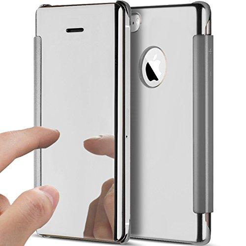 Kompatibel mit iPhone 5S/5 Hülle,iPhone SE Hülle,Überzug Spiegel Durchsichtig Handyhülle Flip Clear View Ständer Magnetisch Handy Tasche Hard Case Hülle Schutzhülle für iPhone 5S 5 / iPhone SE,Silber