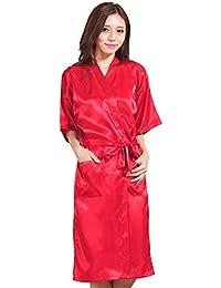 YANXH Albornoz De Seda para Mujer, Largo Fino Ligero Kimono Batas de Dormir Pijama De Color Sólido para Bodas…
