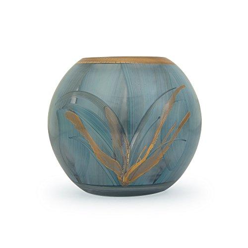Angela neue Wiener Werkstaette Glasvase veredelt Kugelform, Glas, Türkis/blau, 14 x 14 x 14 cm