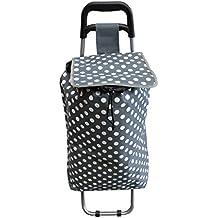 Bid Buy Direct® Lunares carrito de la compra con ruedas | interior cordón cierre. ligero y duradero resistente construcción | ruedas de goma neumáticos | inoxidable | mango de fácil agarre