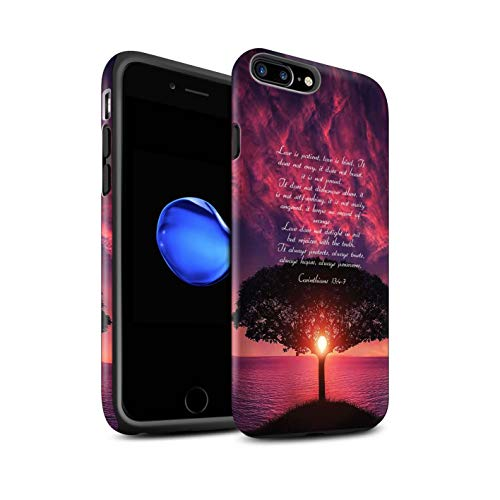 Stuff4® Matte Harten Stoßfest Hülle/Case für Apple iPhone 7 Plus/Love is Patient/Corinthians Muster/Christliche Bibel Vers Kollektion