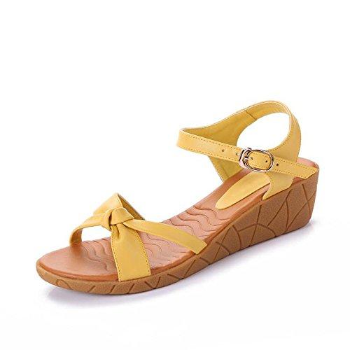 XY&GKSandales à talons Wedge avec fond plat plate-forme imperméable confortable Toe sandales de plage nue, confortable et belle 40 yellow