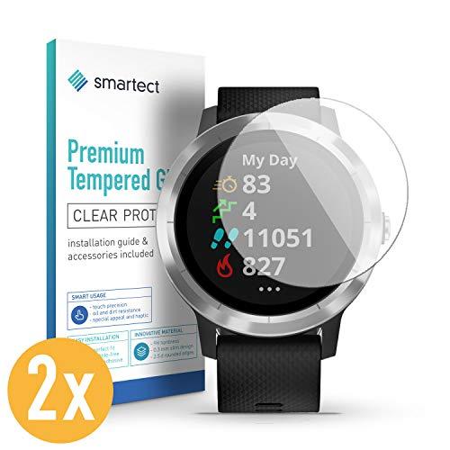 smartect Panzerglas für Garmin Vivoactive 3 [2 Stück] - Bildschirmschutz mit 9H Härte - Blasenfreie Schutzfolie - Anti Fingerprint Panzerglasfolie