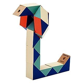 AREAWARE czsbsrb Schlange Block Holz Spielzeug Puzzle–Rot/Blau