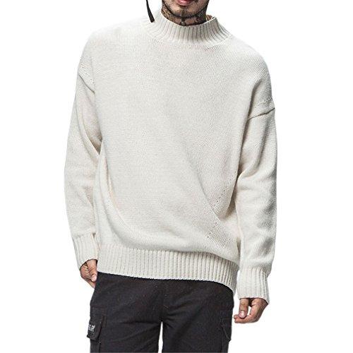 Trend Winter Hip Hop Pullover Männer lässig Cashmere hoher Stehkragen Pullover Herren Pullover weiß M