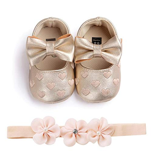 EDOTON Baby Mädchen 2 Pcs Kleinkind Party Schuhe Mit Stirnband, A - Gold, Gr.- 0-6 Monate/Herstellergröße- 1 (Mädchen Gold Schuhe Baby)
