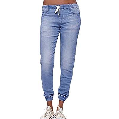 Rosennie Fashion Women's Autumn Winter Casual Skinny Hole Mid Rise Ripped Stretch Slim Fit Fitness Pencil Wide Leg Sexy Zipper Denim Women Elastic Plus Size Drawstring Cropped Jean