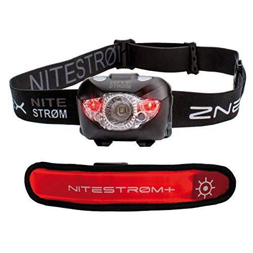 ZNEX NITESTRØM | Super Helle Wasserdichte IPX6 LED Stirnlampe 168 Lumen mit Infrarot-Sensor-Gestensteuerung, Rotlicht, Blinklicht, SOS-Notfall-Pfeife + GRATIS LED-Leuchtarmband