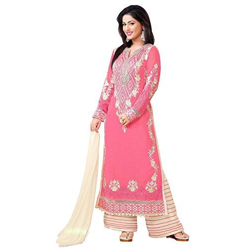 BND Fashions women Straight Pink Georgette Semi-Stitched Free SIze Semi stitched Salwar...