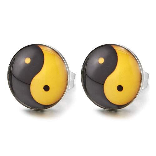 Schwarz Gelb Yin-Yang Kreis Ohrstecker, Unisex Jungen Herren Ohrringe, Edelstahl Gestüt Ohrringe, Ohrschmuck, 2 Stück