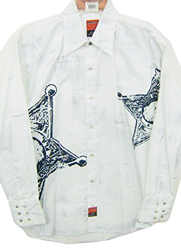 Modestone Men's Long Sleeve Fitted Western Hemd Sheriff Star White (Western Ely Cattleman Shirt)