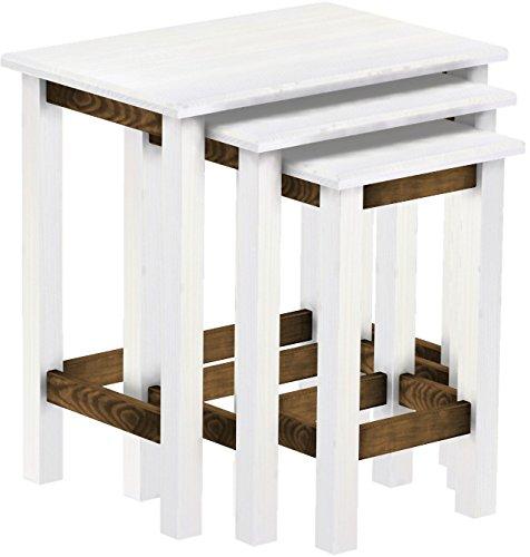 Brasilmöbel 3 x Tables comme Set, en Bois de pin Massif, huilé et ciré Snow chêne Vieilli, L/B/H : 60 x 40 x 62 cm