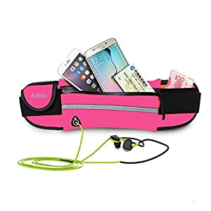 #1 Ceinture de course Run Belt, Atelic® Flip with Earphone Hole Running Runner Money Belt Waist Pack Bag Fitness for Exercise, Running, Hiking, Travel iPhone 6