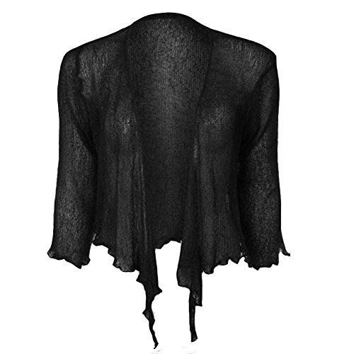 Janisramone Neu Damen Damen Doppelt Fein Stricken Bali Krawatte nach Oben Bolero Achselzucken Beschnitten Dehnbar Strickjacke Top -