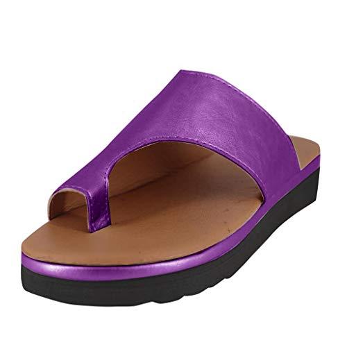 SANFASHION Damen Sandalen Bequeme Plattform Pantoletten Zehentrenner Hausschuhe Sommer Strand Reise Schuhe Flach Flip Flops - Cowboy-plattform