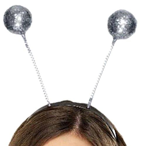 ostüm Kopfbedeckung - Glitzer Kugel Haarreif, onesize, Silber (Schneeflocke Servietten Und Teller)