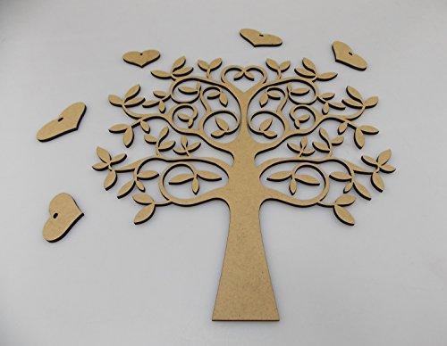 WSS - Kit de árbol genealógico de madera | Incluye árbol, corazones y la palabra Familia | Haz tu propio árbol de la vida genealógico (20 cm)