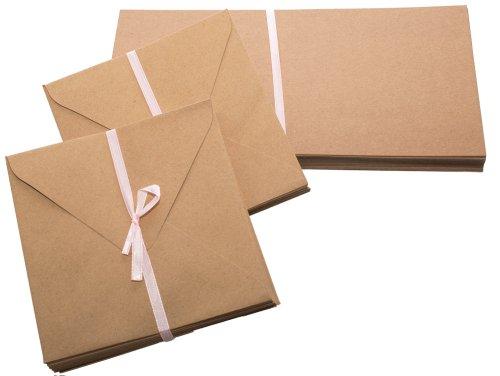 Papermania - Biglietti in carta Kraft, quadrati, 13,5 cm, 50 pz, colore: Marrone