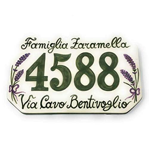 CERAMICHE D'ARTE PARRINI- Ceramica italiana artistica, numero civico in ceramica 20x13 personalizzato, decorazione lavanda, dipinto a mano, made in ITALY Toscana