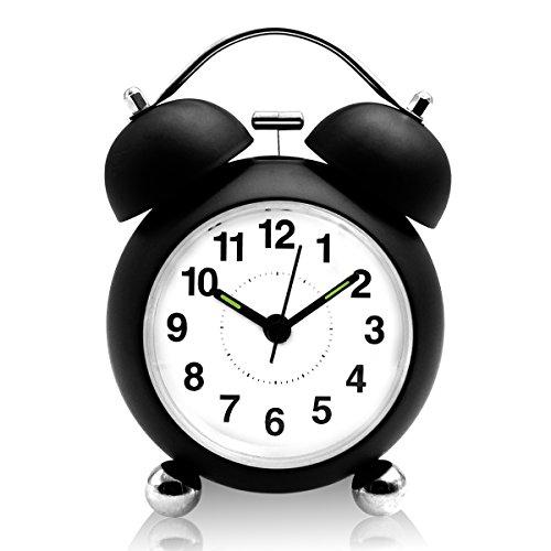 Doppelglockenwecker, Ubegood Doppelglockenwecker mit Nachtlicht lauter Alarm Wecker Retro Glockenwecker, großes Zifferblatt von 4 Zoll, Analog Quarzwecker Geräuschlos, kein Ticken - Schwarz