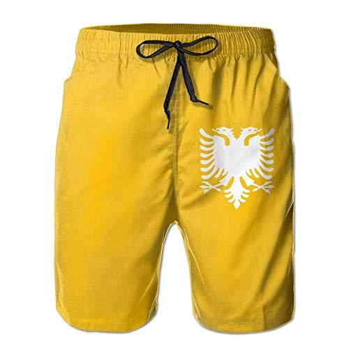 khgkhgfkgfk Albanian Eagle Mens Board Shorts Beach Swim Shorts Beachwear Casual Classic Fit Trunks X-Large