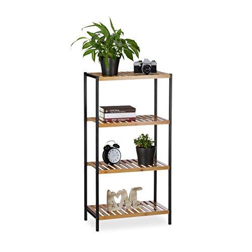 Relaxdays Estantería de bambú, Multi-usos, Organizador para el baño o Cocina, Cuatro estantes, Marco de Metal, Marrón, 9, Naturaleza, 97 X 50,5 X 27 cm