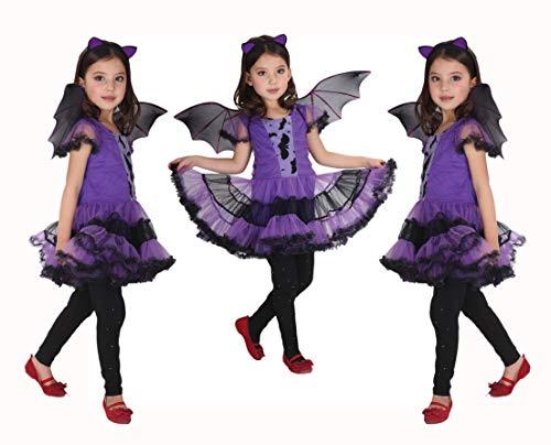 GIFT TOWER Fledermaus Kostüm Kinder halloween kostüm mädchen kinderkostüm Karneval Fasching Cosplay Bekleidung Violett (Machen Sie Eine Kinder Fledermaus Kostüm)