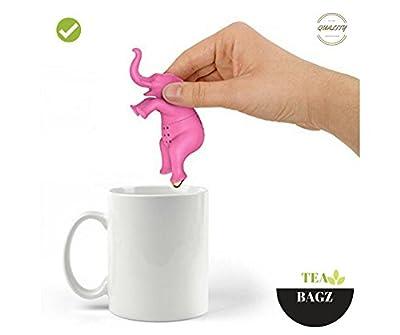 TEA-BAGZ/ Lot de 2 Infuseurs de Thé en forme d'Éléphant Rose / Idéal pour une infusion Bio/Tisane/Thé vert,/ Thé noir/ Accessoires Home et Cuisine/ Diffuseur à Thé Original/ Diffuseur à Thé de Haute Qualité / Diffuseur de thé 100% silicone/ Infuseur à Thé